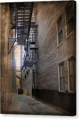 Fire Escape Canvas Print - Alley With Fire Escape And Grunge Border 2 by Anita Burgermeister
