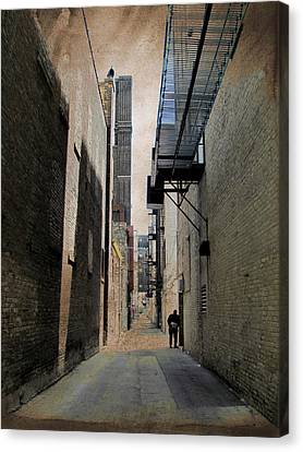 Fire Escape Canvas Print - Alley With Guy Reading And Grunge Border by Anita Burgermeister