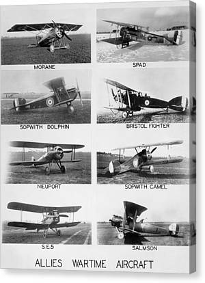 Allies World War I Aircraft Canvas Print by Underwood Archives