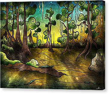 Alligator Swamp Canvas Print by Mandie Manzano