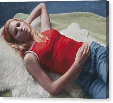 Allison Reclining Canvas Print by Charles Pompilius