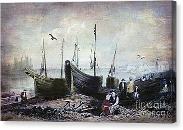 Quaker Canvas Print - Allonby - Fishing Village 1840s by Lianne Schneider