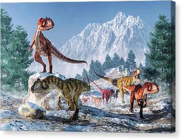 Allosaurus Pack Canvas Print by Daniel Eskridge