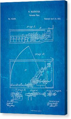 Allstatter Harvester Rake Patent Art 1864 Blueprint Canvas Print by Ian Monk