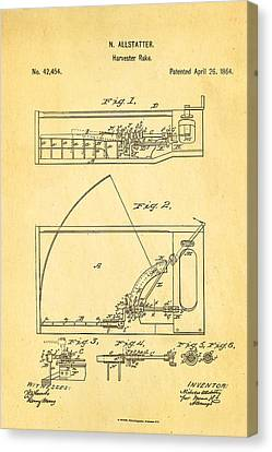 Allstatter Harvester Rake Patent Art 1864 Canvas Print by Ian Monk