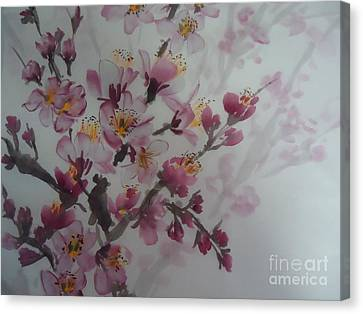 Canvas Print featuring the painting Almond Flower by Dongling Sun