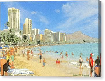 Aloha From Hawaii - Waikiki Beach Honolulu Canvas Print by Art America Gallery Peter Potter