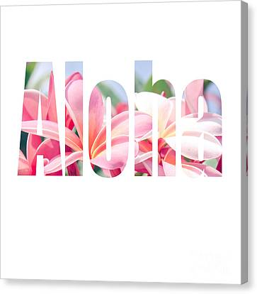 Pinks Canvas Print - Aloha Tropical Plumeria Typography by Sharon Mau