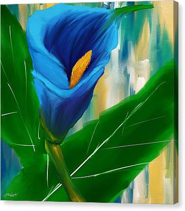 Alone In Blue- Calla Lily Paintings Canvas Print by Lourry Legarde