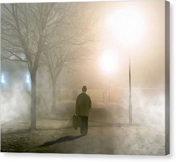 Alone In The Fog In Galway Canvas Print by Mark E Tisdale