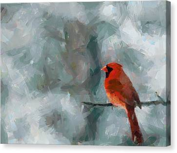 Alone Red Bird Canvas Print
