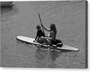 Along For The Ride In Black And White Canvas Print by Suzanne Gaff