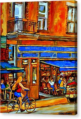 Along The Bike Path Blonde Girl Cycles Past Montreal Cafe Scene Memories Of Summertime In The City Canvas Print