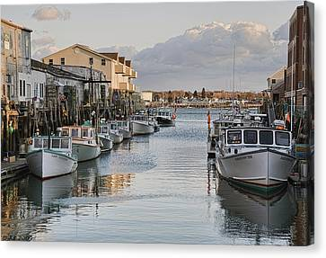 Canvas Print featuring the photograph Along The Docks by Richard Bean