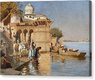 Ganges Canvas Print - Along The Ghats by Celestial Images
