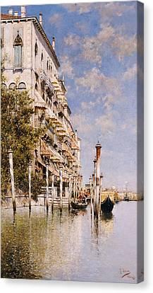 Along The Grand Canal Canvas Print by Rafael Senet