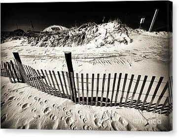 Along The Lbi Dune Fence Canvas Print by John Rizzuto