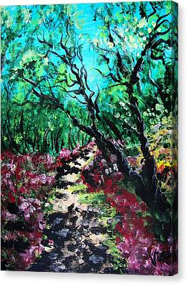 Canvas Print featuring the painting Along The Path by Judy Via-Wolff