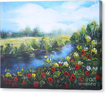 Canvas Print featuring the painting Along The Poppy Valley by Vesna Martinjak