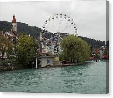 Along The River In Thun Canvas Print