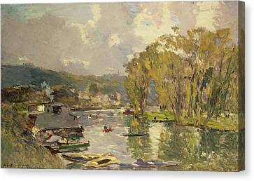 Along The Seine At Meudon Canvas Print by Albert Charles Lebourg