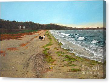 Along The Shore In Hyde Hole Beach Rhode Island Canvas Print by Christopher Shellhammer