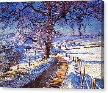 Along The Snow Lined Road Canvas Print by David Lloyd Glover