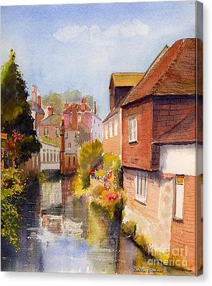 Canvas Print featuring the painting Along The Stour Canterbury by Beatrice Cloake