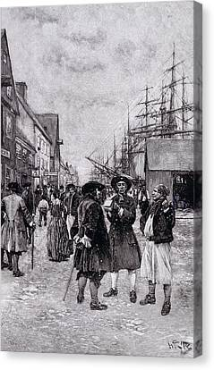 Along The Water Front In Old New York, Illustration From The Evolution Of New York By Thomas A Canvas Print by Howard Pyle