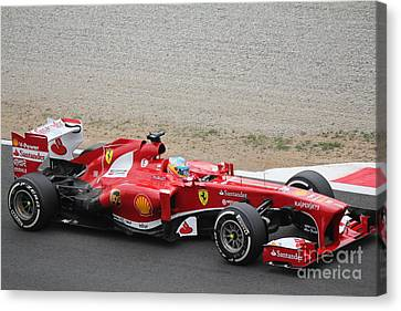 Alonso In His Ferrari Canvas Print