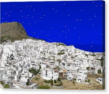 Alora Malaga Spain At Twilight Canvas Print