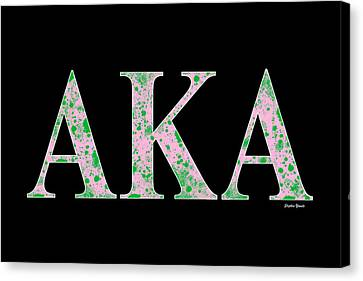 Campus Canvas Print - Alpha Kappa Alpha - Black by Stephen Younts