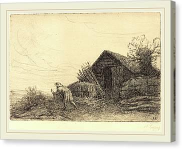 Alphonse Legros, Along The Top Of The Hill Sur Le Haut De Canvas Print by Litz Collection
