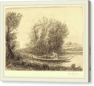 Alphonse Legros, Bend In The River Un Coin De Riviere Canvas Print by Litz Collection