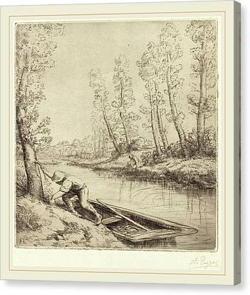 Alphonse Legros, Morning Along The River La Matin Sur La Canvas Print by Litz Collection