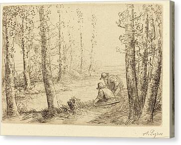 Alphonse Legros, Rest Along The Banks Of The River Repos Au Canvas Print by Quint Lox