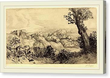 Alphonse Legros, Top Of The Hill Le Haut De La Colline Canvas Print by Litz Collection