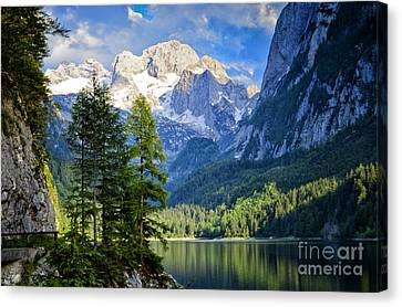 Alpine Lake And Mountains Austria Canvas Print