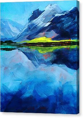 Reflecting Water Canvas Print - Alpine Lake Mountain Landscape Painting by Nancy Merkle