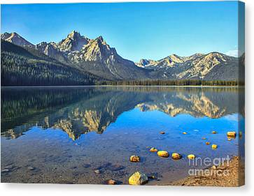 Haybale Canvas Print - Alpine Lake Reflections by Robert Bales