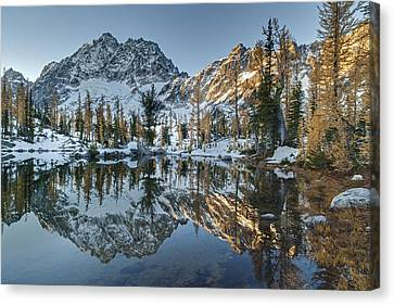 Alpine Lakes Autum Reflection Canvas Print by Mike Reid