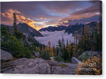 Alpine Lakes Morning Cloudscape Canvas Print by Mike Reid
