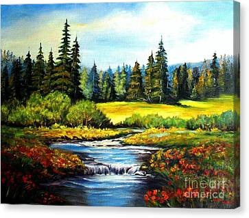 Canvas Print featuring the painting Alpine Meadow by Hazel Holland