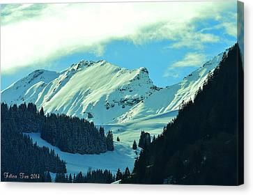 Alps Green Profile Canvas Print by Felicia Tica