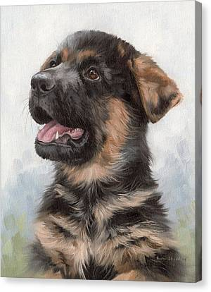 Alsatian Puppy Painting Canvas Print by Rachel Stribbling