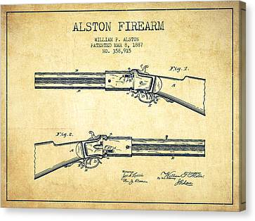 Alston Firearm Patent Drawing From 1887- Vintage Canvas Print by Aged Pixel