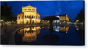 Alte Oper Reflecting In Lucae Fountain Canvas Print by Panoramic Images