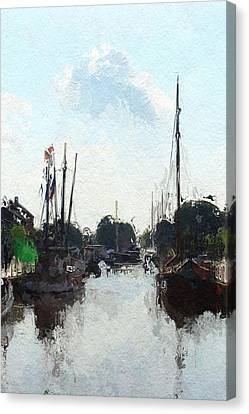 Alter Hafen In Weener Canvas Print by Steve K