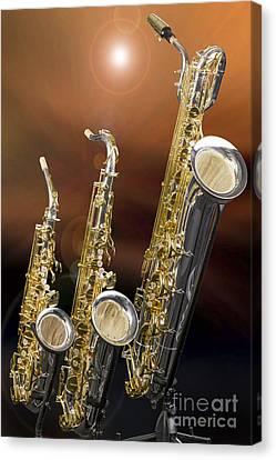 Alto Tenor Baritone Saxophone Photo In Color 3461.02 Canvas Print