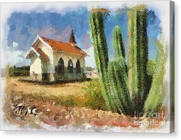 Vista Canvas Print - Alto Vista Chapel Aruba by Amy Cicconi